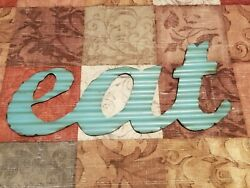 Rustic Home Eat Sign Metal Words Kitchen Wall Decor Distressed Look Farmhouse $15.20