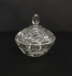 Vintage Crystal Candy Nut Dish With Lid Etched Cut Glass Clear $38.39