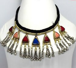 Kuchi Tribal Choker Necklace Coin Pendant Vintage Jewelry Gypsy Ethnic Afghan $19.50