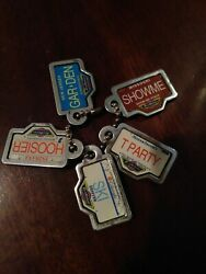 VINTAGE 1990 Micro Machines Mini License Plate Keychain Tags LOT of FIVE 5 $9.99