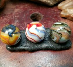 VINTAGE GLASS MARBLES JABO LADIES FIRST RUN 3 MARBLE COLLECTOR SET FREE SHIP $26.00