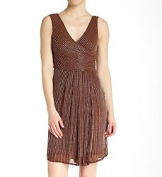 Lotus Threads NWT Dress Womens Brown Beaded Surplice Cross Front Cocktail Size 8 $53.16