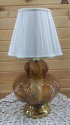 Vintage Table Lamp with Night Light Flower Print Ornate Tinted Smoke Amber Glass $289.99
