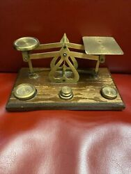 Vintage Brass amp; Wood England Made Balance Scale Measure With 4 Weights Small $39.00