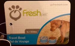 🐶🐶 Go Fresh Pet Travel Bowls 33.8 oz Two Collapsible Zippered Blue NWT Dogs $12.99