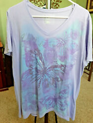 JMS Just My Size Westport Roz 1X Tunic T Shirt Top Purple Lavender Graphic NWOT $11.69