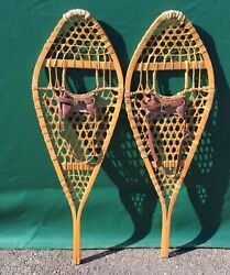 Vintage SNOWSHOES 42x14 LEATHER BINDINGS Snow Shoes GREAT $96.99