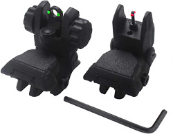 AWOTAC Polymer Black Fiber Optics Iron Sights Flip up Front and Rear Sights with $29.99