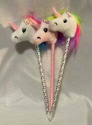 3pcs Unicorn Head Pen Plush Novelty for School Home Office White and Pink 8quot; $8.99