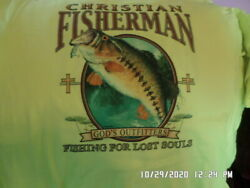 NEW T Shirt: Religious: Fiserman Fishing For Lost Souls Safety Green S L XL $7.49