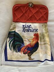 Farm Rooster Kitchen Red Towel Oven Door Hanging Cotton Brown Button Country $9.00