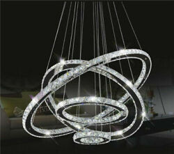Modern 4 Rings Galaxy Crystal Chandelier LED Fixtures Ceiling Lamp Pendant Light