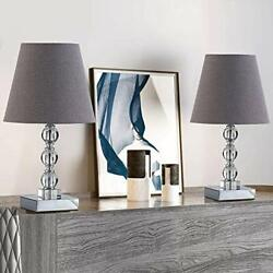 Crystal Small Table Lamp Sets of 2 for Bedroom Living Room Study Crystal $89.46