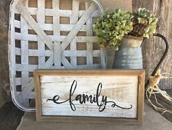 FAMILY Sign Farmhouse Country Decor Inspirational Gallery Wall Art Rustic Wood $19.99