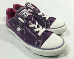 CONVERSE ONE STAR Girls Junior Size 5 Sneakers Purple 618622FT Low Top Shoes $18.99