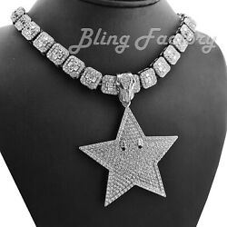 Mario Star Pendant amp; 16quot; 18quot; Full Iced Choker Bust Down Chain Hip Hop Necklace $22.79
