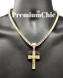 ICED Jesus Cross Pendant Necklace with Rope or Tennis Chain Mens Hip Hop Jewelry $11.99