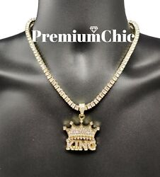 ICED Crowned King Pendant Necklace with Rope or Tennis Chain Men Hip Hop Jewelry $11.99