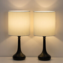 Set of 2 Modern Bedside Lamp White Linen Table Lamp Pair for BedroomLiving Room $32.70
