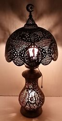 Antique Pierced Brass Crescent Moon Table Lamp With Shade Vintage Lamp $399.99