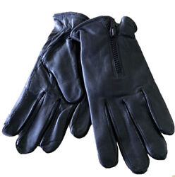 Men#x27;s GENUINE LAMBSKIN Leather winter driving MOTORCYCLE glove with Zipper $8.99