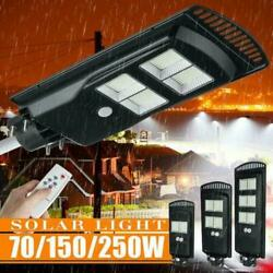 14000LM Commercial LED Solar Street Light Motion Sensor Dusk to DawnRemote Pole