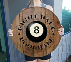 Personalized 8Ball Pool Table Personalized Bar Sign Rustic Wall Art $69.90