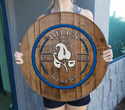 Personalized Name Sign Rustic on Aged Whiskey Barrel Top Wall Art $69.90