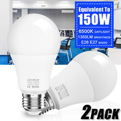 2x Super Bright LED Bulb 150W Equivalent A19 6500K 1350lm Cool Daylight White $11.55