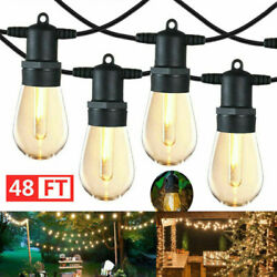 48FT LED Outdoor Waterproof 15 Bulbs Commercial Grade Patio Globe String Lights
