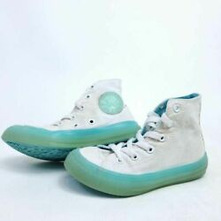 Converse All Star Youth 11.5 Sneaker White Aqua Translucent Hi Top Chuck $17.40