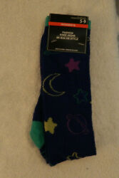 Womens Blue Novelty Knee High Socks size 5 9 Space $1.90