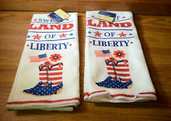 Sweet Land of Liberty USA Patriotic Decorative Kitchen Towels lot of 2 NWT $7.50