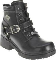 Harley Davidson Womens Tegan Low Cut Lace up Black Leather Biker Boots D84424 $103.20