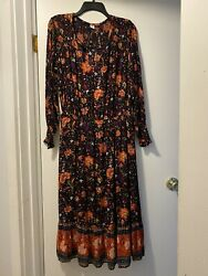 Old Navy Long Sleeve Floral Maxi Dress Womens Large Fall Colors C41 $19.50