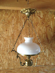 Antique Lamp Suspension Brass Imitation Lamp Oil Lampshade Playing IN Opaline $98.57