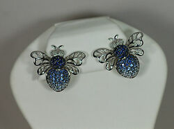 14K WHITE GOLD BLUE SAPPHIRE DIAMOND BUMBLE BEE INSECT NATURE OMEGA EARRINGS $1477.00