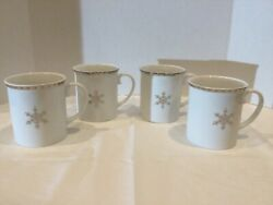 Set of 4 Target Silver Noel Christmas Porcelain Snowflake Mugs $45.99