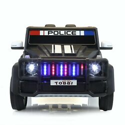 12V Electric Police Kids Ride On Car SUV Truck w Lights Remote Control Toy Black $128.99