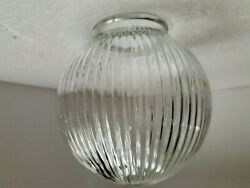 Glass Globe Light Shade Ribbed Dome Clear Holophane Vintage Mid Century Modern $29.97