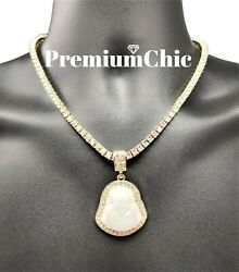 ICED Buddha Pendant Tennis Chain or Rope Chain Necklace Hip Hop Jewelry WHITE $10.99