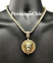 ICED Crowned Lion Pendant Necklace with Rope or Tennis Chain Men Hip Hop Jewelry $11.99