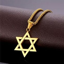 Star of David Pendant amp; Necklace Chain Stainless Steel Gold Israel Jewish NEW $19.00