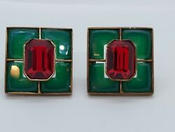 Vintage Brass Green Glass Red Rhinestone Artisan Clip On Earrings Signed $86.00