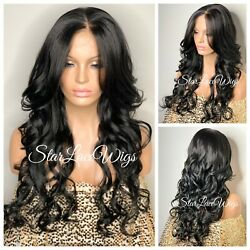 Long Lace Front Wig Curly #1b Off Black 13x6 Parting Space Baby Hair Heat Safe $75.86
