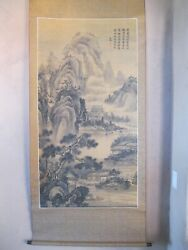CHINESE STYLE hanging Antique scroll of mountain scenery and village. $405.00