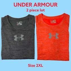 Under Armour Mens Lot of 2 Fitted Heat Gear T shirts Gray Orange Size 2XL $24.95