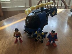 FISHER PRICE IMAGINEXT DC BATman HELICOPTER Flight Suit amp; FIGURES Super Friends $21.00