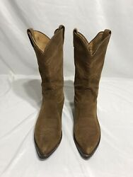 Tony Lama 6987 Tan Suede Leather Western Cowboy Boots Womens Boots Size 12D $45.00