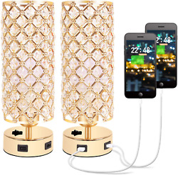 USB Crystal Table Lamp Gold Lamp Sets Desk Lamp Set of 2 with USB Charging Ports $79.27